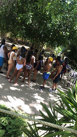 Gearing up for River tubing at River Rapids Adventures in Trelawny 🛶
