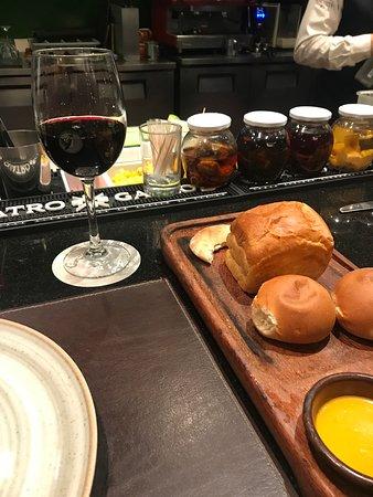 Bread board and merlot