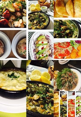 Cabrero, Chile: Gran variedad de mariscos en platos fríos y calientes