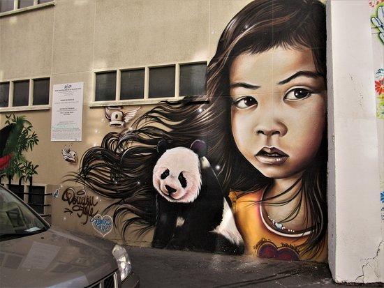 """Fresque """"La petite fille et le panda"""""""