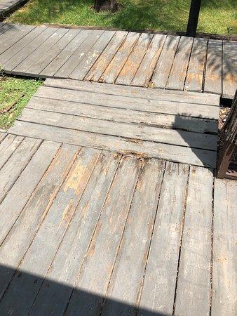 Worn out deck, splinters everywhere.