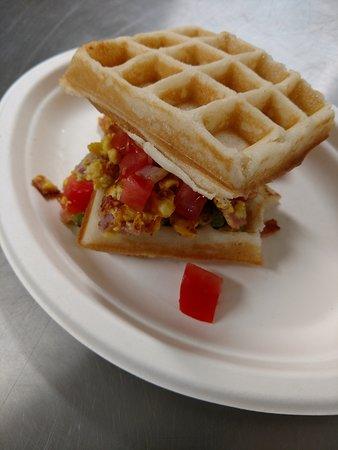 Waffle Den and Bakery: Breakfast sandwich
