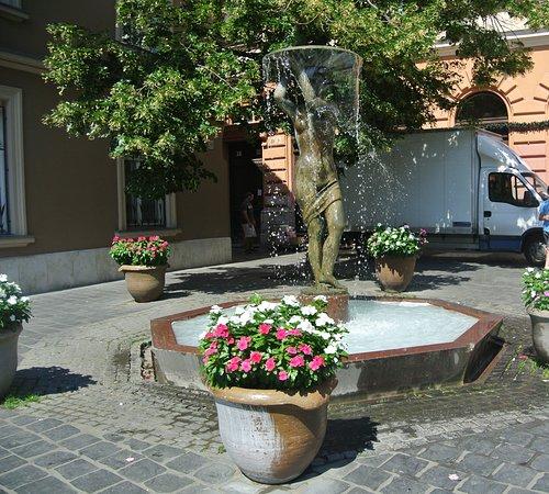Vízjatek-szobor es díszkut