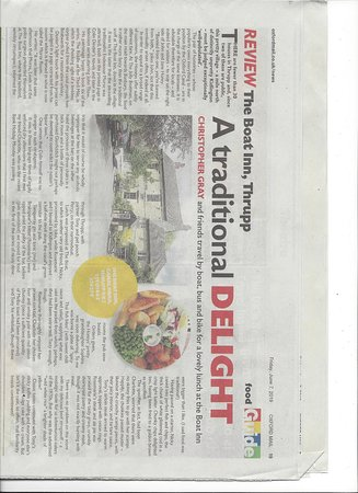 Thrupp, UK: This is a review written by Christopher Gray a professional food critic for The Oxford Mail