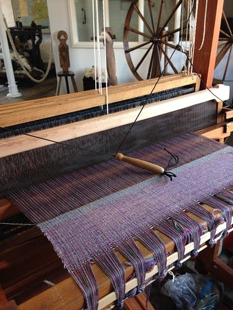 A loom in the museum ready for weaving