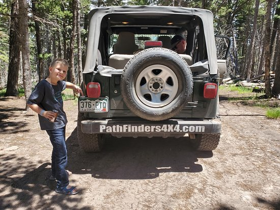 Saguache, CO: At the top of Medano Pass with the Jeep we rented from Pathfinders 4x4