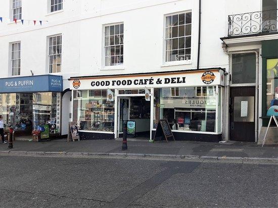 The frontage of the Good Food Cafe & Deli, Broad Street, Lyme Regis DT7 3QE.