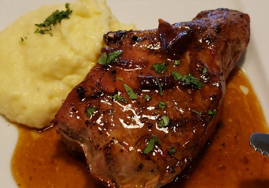 Bronston, KY: Bourbon glazed pork chop with Yukon Gold mashed potatoes