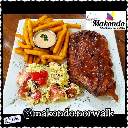 Weekend Special: Half Rack BBQ Baby Back Ribs, Seasoned Fries with Home made Pink Dressing and Fruit Salad!!  Especial del Fin de Semana: Deliciosas Costilas de Cerdo a la BBQ, Papas Fritas Sazonadas con Salsa Rosada y Ensalada de Frutas!!!