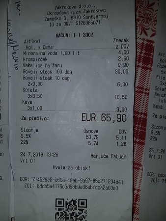 Sentjernej, สโลวีเนีย: Questo è il conto in 3 con Steak da 1 kg + vesalica + controfiletto e contorni