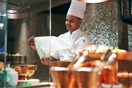 Asian Market Cafe Interior with Chef