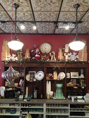 Sebring, OH: Interior behind soda bar at Christmas