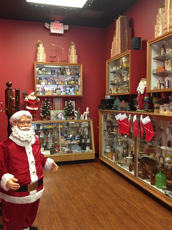 Sebring, OH: Interior pharmacy history display cases at Christmas time.