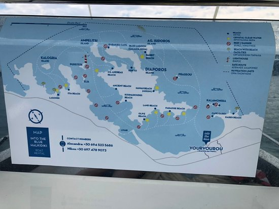 Boat Rental in Vourvourou without a License: Map where to go and what to avoid