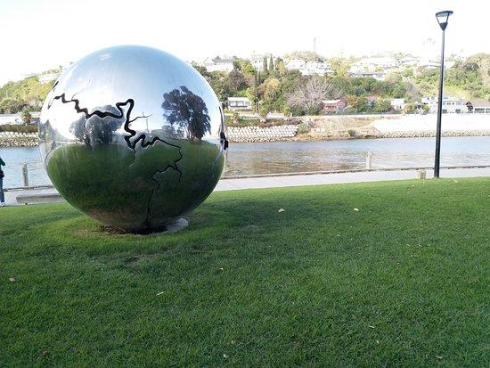 Spherical art installation near the Whanganui River