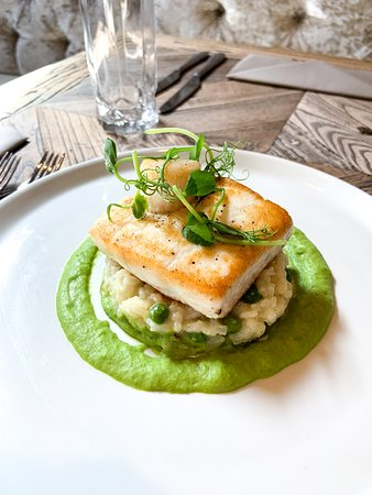 Roasted Halibut with seared scallop, pea & pancetta risotto and pea puree.