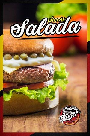 O tradicional Cheese Salada , com o sabor que só o Drive in Burger tem.