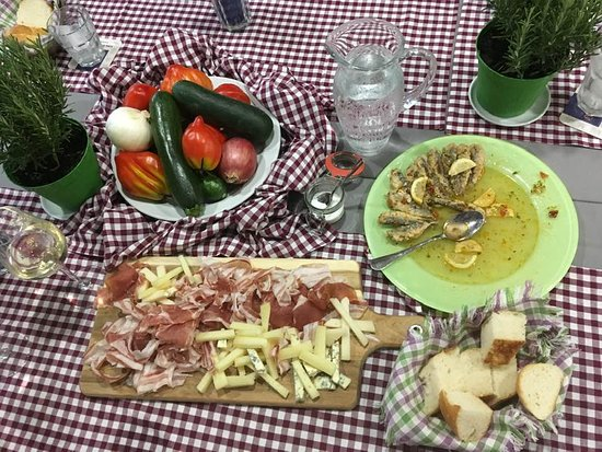 Smarje, Slovenia: Local vegetables, prosciutto, goat cheese, marinated sardines.
