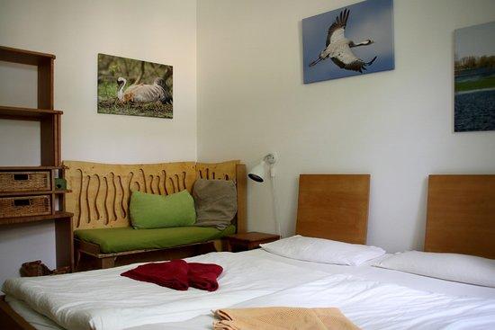 Gohrde, ألمانيا: Bio-Hotel Kenners LandLust - im Kranichzimmer gibt es eine kleine Sitzbank, die auch mal ein Kinderbett werden kann.