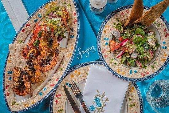 Kraides Mashwi: Jumbo shrimps marinated with garlic, spices, olive oil and lemon.