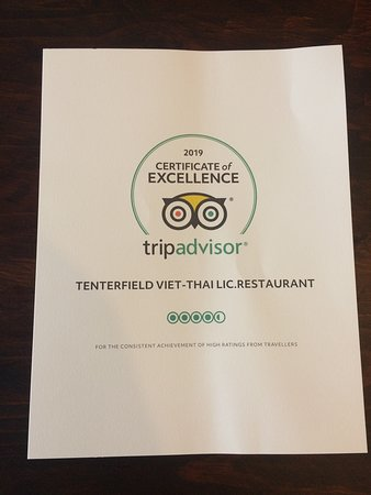 Trip Advisor' Certificate of Excellence 2019 for Tenterfield Viet-Thai Lic.Restaurant, the place to be in Tenterfield, NSW 2372 - Australia