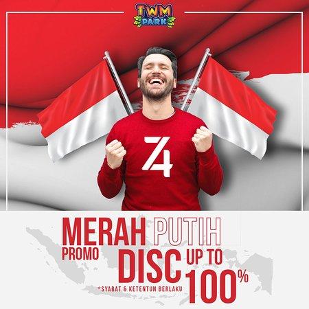 "Dalam rangka menyambut hari kemerdekaan Republik Indonesia @twmparkofficial menyajikan promo ""Merah Putih"" spesial untuk kamu  Dapatkan diskon hingga 100% dari promo ""Merah Putih"" TWM Park  *syarat & ketentuan berlaku"