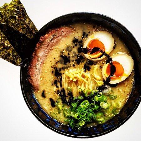 Tonkotsu ramen with pork neck and matinatrd egg.