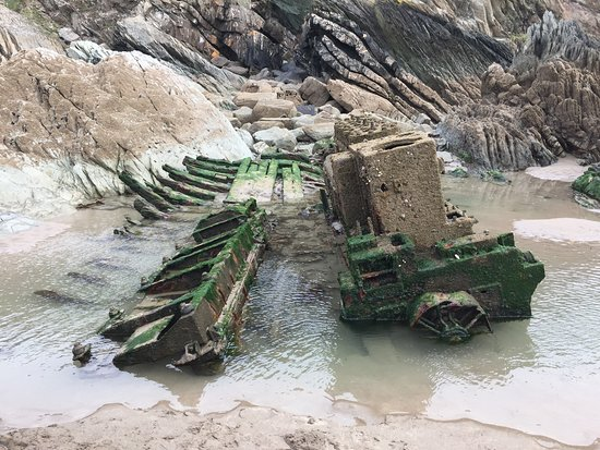 Remains of wreck on Tregantle beach between the Gun Range and Freathy near Crafthole.