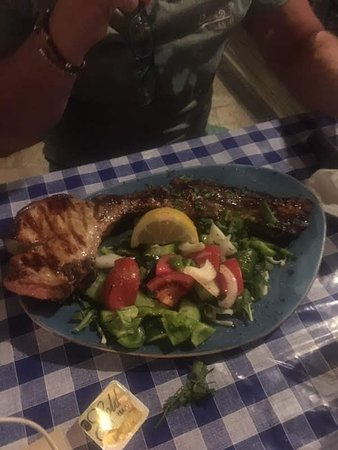 Sotira, Cyprus: Pork Chop cooked to perfection. Chips had to come separate as no room on the plate.