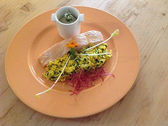Saint-Sébastien-d'Aigrefeuille, France : Dos de saumon et son riz jaune à la sauce estragon