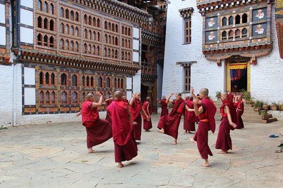 Monks practising dances at Lhuntse Dzong