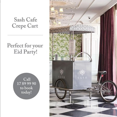 Make your Eid party memorable with Sash's Crepe Cart. Call 17899990 to book today! . . . #SashCafe #Bahrain #eid #crepe #cart #2019 #events #birthday #party #gatherings #sash #riffa