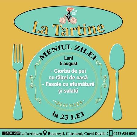 La Tartine Cotroceni: 🍴 De la ora 12:00 vă așteptăm #LaTartine #Cotroceni cu #MeniulZilei (#Luni, 5 #august) la 23 lei: - Ciorbă de pui cu tăiței de casă - Fasole cu afumătură și salată  * în limita stocului disponibil P.S. Nu ratați cele mai delicioase #tartine si #FructeDeMare #LaTartineCotroceni #Bucuresti
