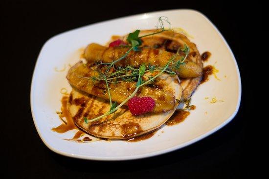- Breakfast menu -  Homemade pancakes banana caramel Pancakes with fresh fried banana on top