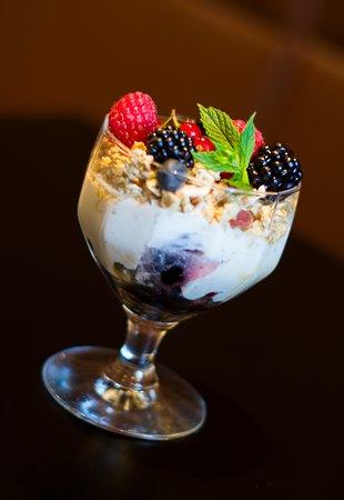 - Breakfast menu -  Granola parfait Granola with Greek yoghurt, fresh berries and honey.