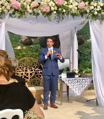 Ermenegildo Zegna Trofeo Bluish Grey Suit at a wedding in Monaco