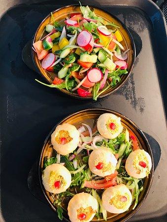 Golgappa, Chicken Tikka Salad, Aubergine Pakora, Tandoori Chicken Supreme.