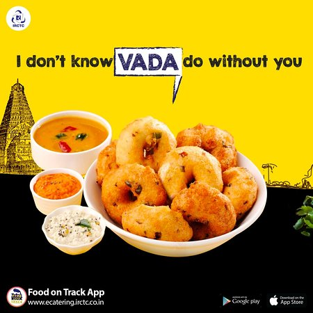 Want to eat hot and crispy vadas? Now order your favourite #SouthIndian food from #IRCTC #eCatering. To order visit: www.ecatering.irctc.co.in / Download Food on Track/ call 1323. #foodie #railway #railwayfood #indianrailways #snacks #travel