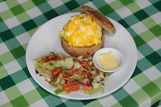 An Lar Cafe: Scrambled eggs in our sourdough bread with salad.  All local or organic