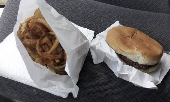 Fairland, OK: 1/3 lb hamburger and SuzyQs (curly fries)