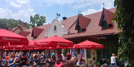 Bavarian style village with food and free beer (couple of samples 12oz per adult)