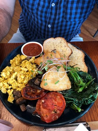 We had this amazing Vegan Breakfast during this year - Tofu scramble, hash brown, mushrooms, tomato, greens and toast - delicious