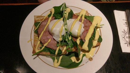 Eggs Benedict with ham. Nice!