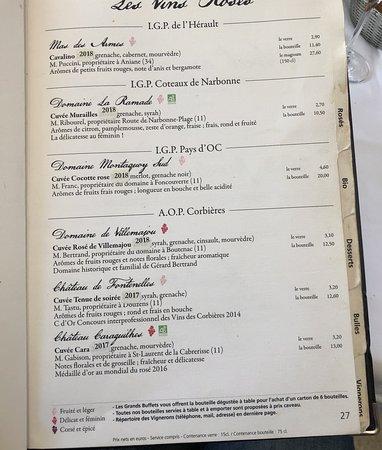 les grands buffets narbonne carte des vins Extraits de la carte des vins.   Picture of Les Grands Buffets