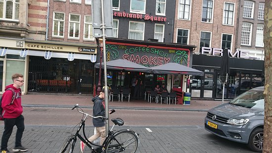 Smokey Coffeeshop: from across the road in Dam Square.