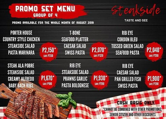 "Tarlac Province, Philippines: To all our valued Steak lovers:   Here's our new STEAKside Treat! All for the Month of August.  ""STEAKside SET MEAL"" and ""STEAKside Meal with Wine and Dessert"". Promo period from Aug 5 - 31, 2019  ""Come dine with with us enjoy our STEAKside Treat, Best Dining is better experienced with your Family and friends""   See you all at STEAKSIDE TASTE n SEE   #SteaksideTasteandSee #SteaksideTAS #steaksideTarlac #SSTAS #steaksideTreat #beststeakinTarlac #beststeakintown"