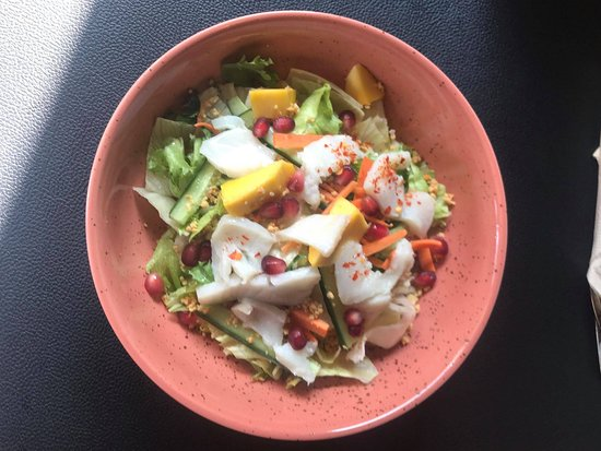 One of our popular dishes pokebowl, with limemarinated cod