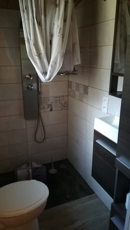 Cendras, France : salle de bain douche italienne et WC broyeur ,lavabo .