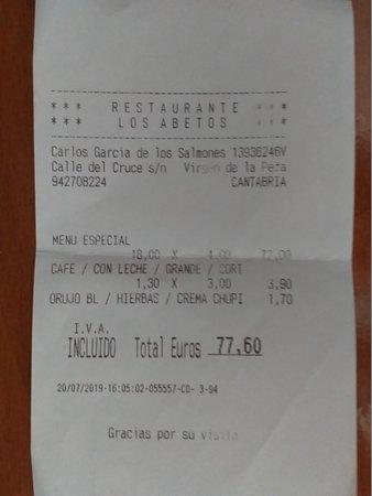 La Virgen, Hiszpania: 4 menus cafes y chupito de orujo.