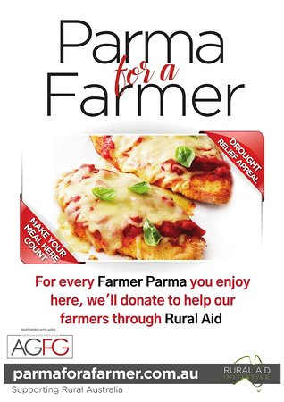 "Throughout August, purchase a special ""Farmer Parma"" and we will donate $5 to Rural Aid to support struggling farming families."